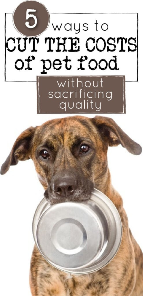 dog holding an empty pet food bowl (with text overlay).