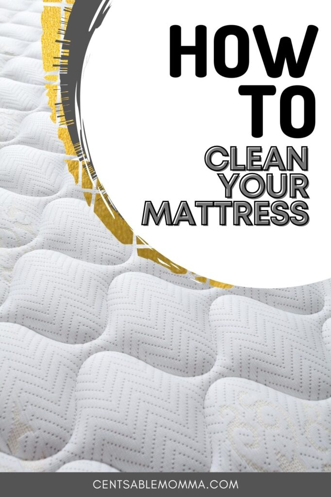 uncovered white mattress (with text overlay).
