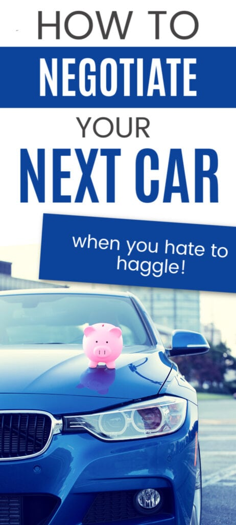 blue car with pink piggy bank sitting on the hood (with text overlay).