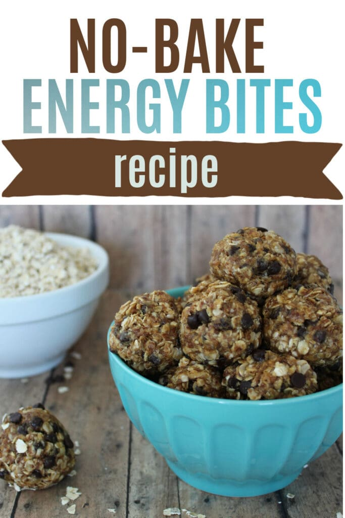 bowl full off no bake energy balls made with oatmeal and chocolate chips.